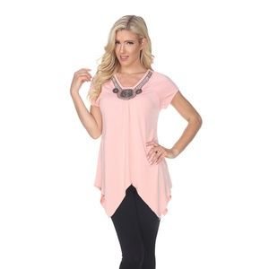 Women's Embellished S/S Top/Tunic CORAL 1288-11